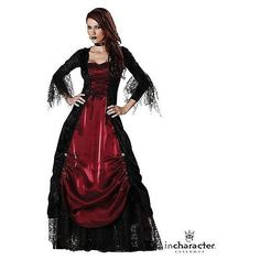 Gothic Vampiress Elite Adult Costume ($96) ❤ liked on Polyvore featuring costumes, dresses, halloween, halloween costumes, outfits, steampunk, gothic vampira costume, adult halloween costumes, steampunk costume and evil halloween costumes