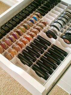 The IKEA Alex Storage - Great for when you have a ton of makeup but would work awesome for crafting embellies.I am buying one of the IKEA ALEX drawer units - wonder if they sell the organization insert too