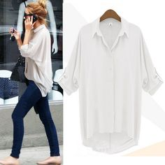 ec79a9152ce Women's Chiffon Button Down Shirt Casual Long Sleeve T Shirt Tops Blouse Tee