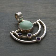Modernist Sterling Silver Pendant Mint Green by MintAndMade