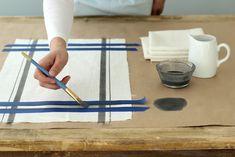 Hand Painted Linen Kitchen Towels