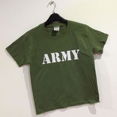 Childrens ARMY t-shirt, £7.50 with FREE UK DELIVERY. This childrens crew neck t-shirt comes printed to order with the ARMY slogan. military green with white slogan on the front. www.esopersonalise.co.uk