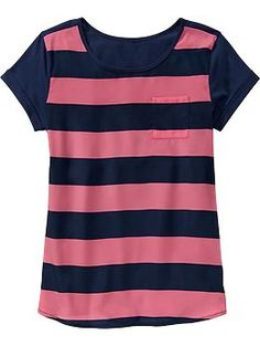 Girls Satin-Front Tops-Pink/Navy Stripe #BTS #6thgradegirl