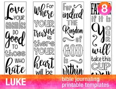 LUKE - 4 Bible journaling printable templates, illustrated christian faith bookmarks, black and white bible verse prayer journal stickers