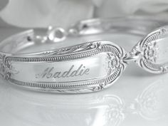 Personalized Bracelet Personalized Jewelry by SilverSpoonCreations, $33.50 I want this with the Girls names!