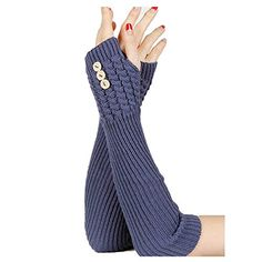 Blue Knitted Button Hand Wrist Arm Warmer Beatnix Fashions