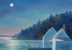 Two+Shacks,+Full+Moon by Suzanne+Siegel: Giclee+Print available at www.artfulhome.com