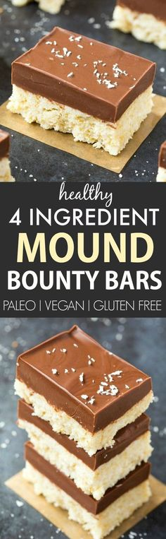 4 Ingredient No Bake Mound Bounty Bars (Paleo, Vegan, Gluten-Free)- Easy, delicious and ready in 5 minutes- The best candy bar copycat!