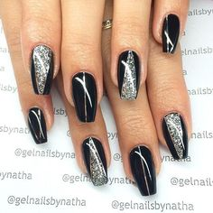 Simple Black Coffin Nail Designs For Winter Simple Black Coffin Nail Designs For Winter Holidays - TopBestLife Honeycomb Nail Art View We loved this nail art model, that will be similar to h. Black Silver Nails, Black Nails With Glitter, Black Coffin Nails, Glitter Nails, Fancy Nails, Bling Nails, Cute Nails, Pretty Nails, My Nails