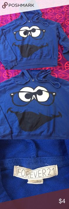 Cookie monster cropped sweater Cookie monster cropped sweater . Has stains on sleeve as pictured Forever 21 Tops
