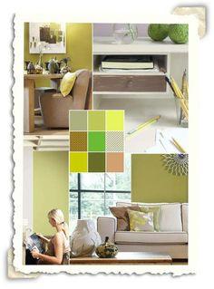 Interieur idee met de kleuren zacht geel en zacht groen.