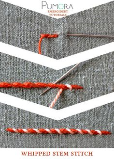 Pumora's embroidery stitch-lexicon: the whipped stem stitch