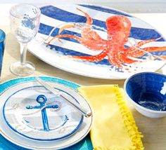 Nautical Outdoor Entertaining with Anchors and Octopus from Bealls Sea Voyager Outdoor Coastal Dinnerware Collection: http://www.completely-coastal.com/2014/04/coastal-nautical-melamine-plates-outdoor-entertaining.html