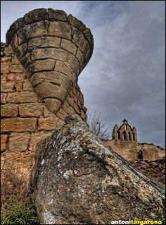 The remains of a 9th-century castle in the village of Sanaüja, in the province of Lleida, an autonomous community of Catalonia, Spain.