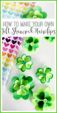 felt shamrock hairclips - so easy, but so fun, perfect craft for St. Patrick's Day to add a little green to an outfit! - Sugar Bee Crafts