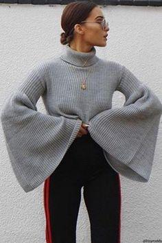 Grey Wide Sleeve Roll Neck Jumper
