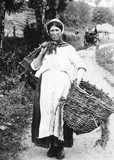 Old photograph of a Berry Picker in Perthshire, Scotland