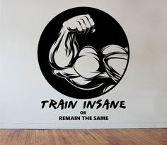 Fitness Gym Wall Decal TRAIN INSANE  Sticker Art Decor Bedroom Design Mural sports lifestyle work out home decor