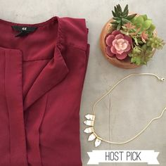 ✨HP✨H&M Blouse Lightly worn bell shaped blouse.  Beautiful maroon color with hidden buttons creating a tuxedo look. No trades H&M Tops