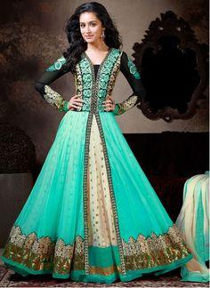 Shraddha Kapoor Turquoise Georgette Anarkali Suit