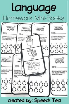 Language Homework perfect for carry-over! Use this homework for speech therapy, special education, early intervention, and elementary students. Includes synonyms homework, antonyms homework, categories, negation, homophones homework, and same/different. P