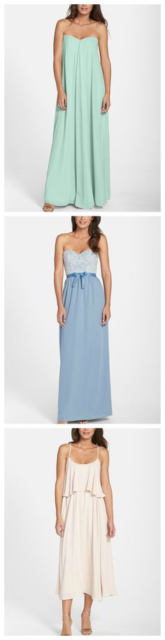 Perfect for mixing and matching dress styles and colors! Each bridesmaid dress is available in coordinating pastel hues.