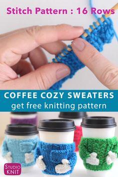 Knitting Videos, Easy Knitting, Knitting Projects, Knitting Socks, Baby Booties Knitting Pattern, Sweater Knitting Patterns, Mug Cozy, Coffee Cozy, Wie Macht Man