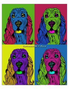 Andy Warhol style Cocker Spaniel dog, via Etsy.