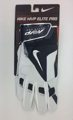 NIKE MVP ELITE PRO GRAY/WHITE ADULT BATTING GLOVE (ADULT LARGE) -- NEW #Nike