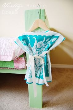 Domesblissity: 22 ways with vintage handkerchiefs...  Baby dress- or toddler shirt!