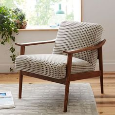 Mid-Century Show Wood Upholstered Chair | west elm #UpholsteredChair #BedroomChair #livingroomupholsteredchairsupholstery