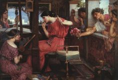 """""""The Lessons of Craft"""" - reflections on how sewing and knitting make me a better writer.  Image: """"Penelope and the Suitors,"""" Waterhouse, via Wikimedia Commons [Public Domain]"""
