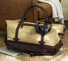 Saddle Leather  Canvas Weekender Bag #potterybarn I want this! <3 I really really do.