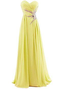 Ouman Sweetheart Beading Floor-Length Chiffon Prom Dress Yellow 3XL a44da5e93c38