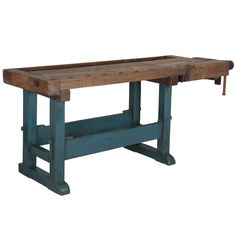 Impressive Fruitwood Workbench  | From a unique collection of antique and modern industrial and work tables at https://www.1stdibs.com/furniture/tables/industrial-work-tables/