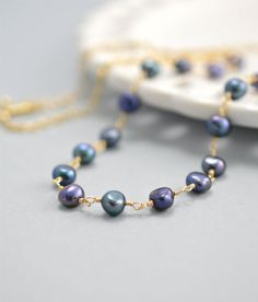 Blue Pearl Necklace, Peacock Pearl Jewelry in Gold Fill by BlueRoomGems, $75.00