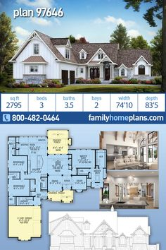 NEW Craftsman Home Plan 97646 has 2795 sq ft 3 Beds 3 5 Baths and Great Porch with facadedesign salwardesigns European House Plans, Craftsman Style House Plans, House Plans One Story, House Floor Plans, Custom Home Plans, Modern Farmhouse Plans, Keeping Room, Shabby Chic Homes, Future House