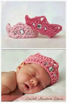 You will love this Crochet Baby Crown Pattern Free Video and it's very easy to make. It would be a perfect newborn baby gift for friends and family. Newborn Crochet, Crochet Baby Hats, Cute Crochet, Crochet For Kids, Crochet Crafts, Baby Knitting, Crochet Projects, Crochet Headbands, Gilet Crochet