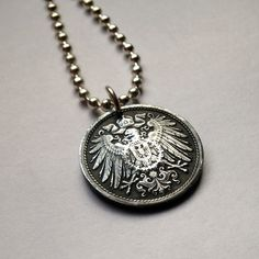 Antique 1923 poland 50 groszy coin pendant charm necklace jewelry 1918 germany 10 pfennig coin pendant necklace jewelry imperial eagle wings shield coat of arms bird mozeypictures Images