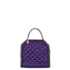 e9d78e5d47f7  Bright Purple Falabella Quilted Shaggy Deer Tiny Tote