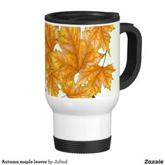 Autumn maple leaves travel mug