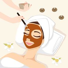 Illustration of Woman having chocolate mask treatment therapy lying down on massage bed with flowers and perfumed candles vector art, clipart and stock vectors. Spa Facial, Facial Massage, Skin Care Spa, Face Skin Care, Mascara Hacks, Beauty Skin, Beauty Care, Beauty Hacks, Skin Treatments