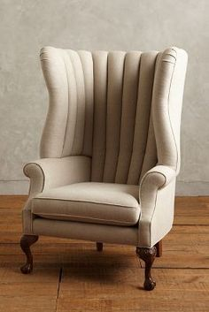 Anthropologie Linen English Fireside Chair #anthroregistry