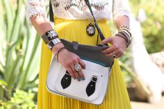Yellow Pleats, Black and White Bag.  This is perfection.