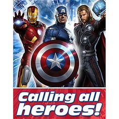 Avengers Party Invitation...I would probably draw my own heroes though.