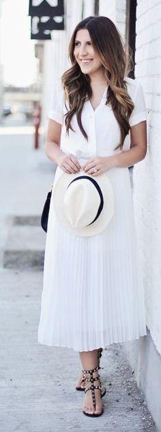 #spring #summer #outfitideas   White Top + White Pleated Midi Skirt   Stephanie Sterjowski