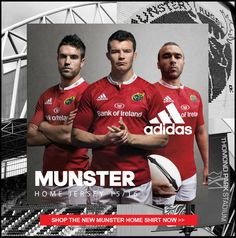 Munster Rugby Shirt and Kit 2015/16 - www.uk-rugby-shop.co.uk Munster Rugby, Rugby Gear, Ireland Rugby, International Rugby, Super Rugby, Rugby Shirts, Irish Rugby, Australian Football, Rugby World Cup