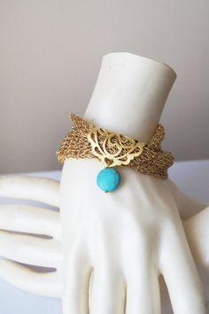 Gold Mesh Turquoise Bracelet Bracelet knitted fabric by ilkcanArt