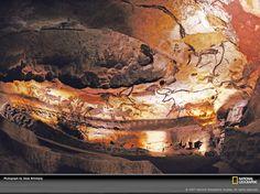 Grotta di Lascaux, sala dei tori; 17.500 anni fa circa, Paleolitico superiore maddaleniano; pittura rupestre. Le grotte di Lascaux si trovano nei pressi del villaggio Montignac, nel dipartimento della Dordogna, in Fracia.