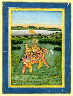 Deity riding elephant composed of female orchestra and acrobatic dancing girls. Painted in gouache on paper. Dancing Girls, British Museum, Ganesha, Indian Art, Deities, Orchestra, Gouache, Diversity, Elephants